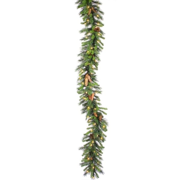 """50' x 16"""" Commercial Pre-Lit Cheyenne Pine Christmas Garland - Clear Dura Lights"""