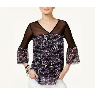 INC International Concepts Womens Printed Illusion Top Tangled Ivy - L - Purple