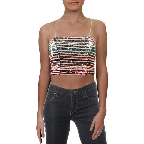 Sequin Hearts Womens Juniors Crop Top Sequined Night Out - Beige Multi