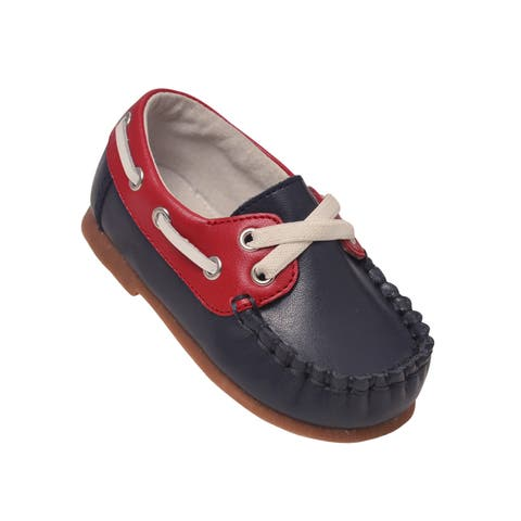 L`Amour Little Boys Navy Red Hudson Boat Shoes