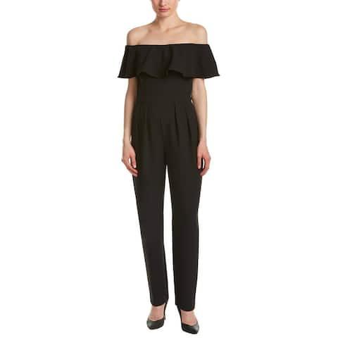Eliza J Womens Jumpsuit Black Size 8 Off-The-Shoulder Ruffled Solid