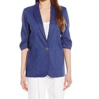 Karen Kane NEW Blue Womens Size Medium M One-Button Two-Pocket Jacket