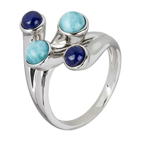925 Sterling Silver Larimar,Lapis Lazulli Ring