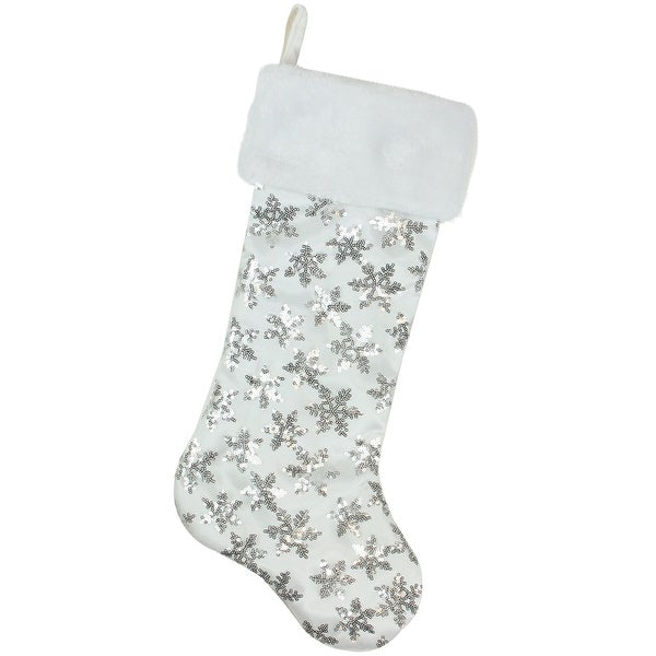"19"" White and Silver Sequin Snowflake Christmas Stocking with Faux Fur Cuff"