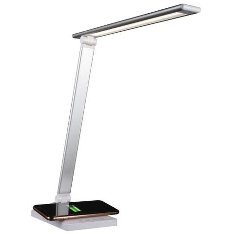 OttLite Entice LED Desk Lamp with Wireless Charging - White