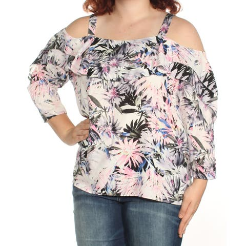 NYDJ Womens Purple Cold Shoulder Ruffled Floral 3/4 Sleeve Square Neck Top Size: XL