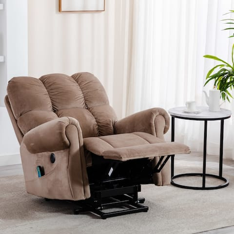 Corduroy Electric Lift Recliner with Heat Therapy and Massage(Camel)