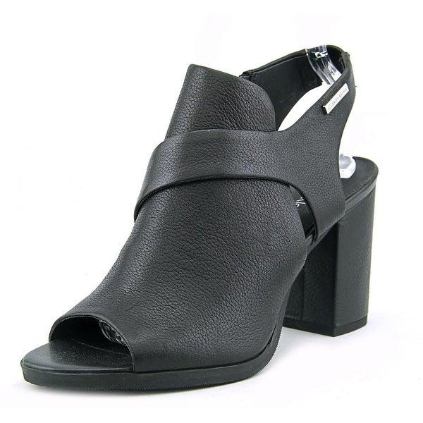Calvin Klein Ellcia Women  Peep-Toe Synthetic Black Bootie