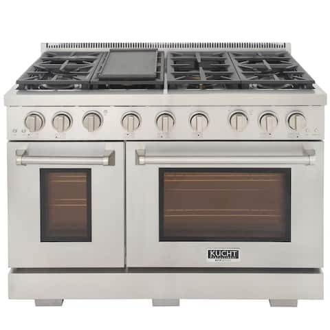 Professional 48 in. 6.7 cu. ft. Double Oven Natural Gas Range with 25K Power Burner, Convection Oven in Stainless Steel
