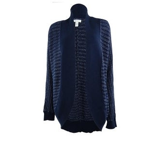 Charter Club Women's Metallic Shawl Knit Cardigan - intrepid blue combo