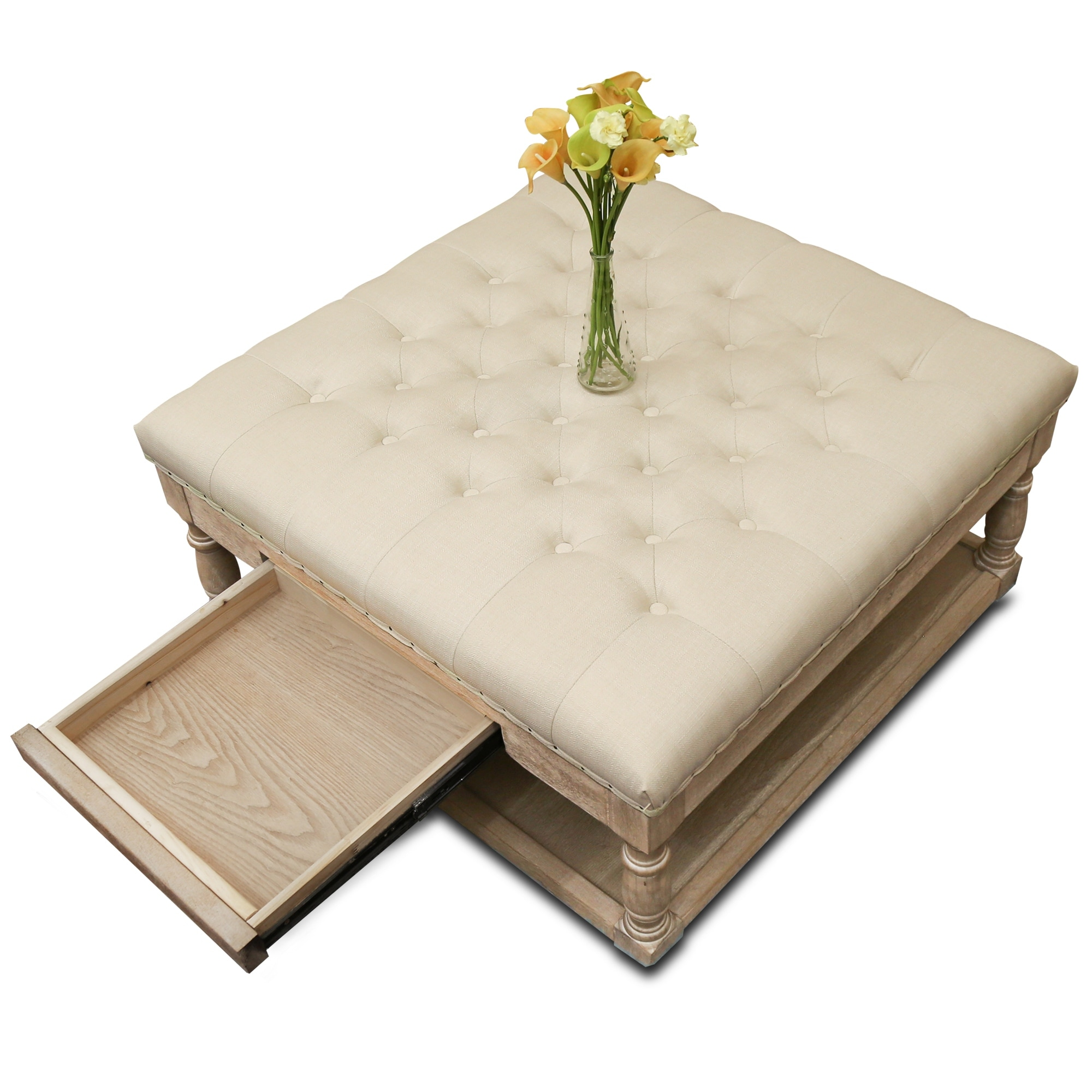 Suleiman Tufted Padded Cocktail Ottoman With Shelf And Drawer Overstock 22591547