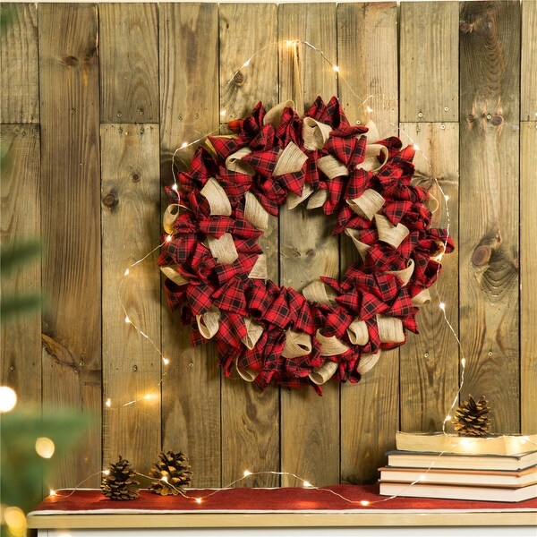 "Glitzhome 19""D Red Plaid Wreath. Opens flyout."
