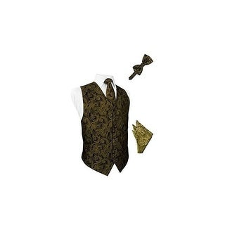 New Gold Tapestry Satin Vest with Long Tie Bowtie and Pocket Square