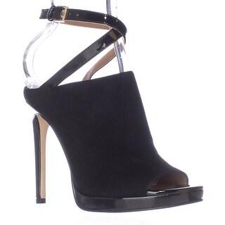 Calvin Klein Samanta Ankle Strap Mule Heels - Black