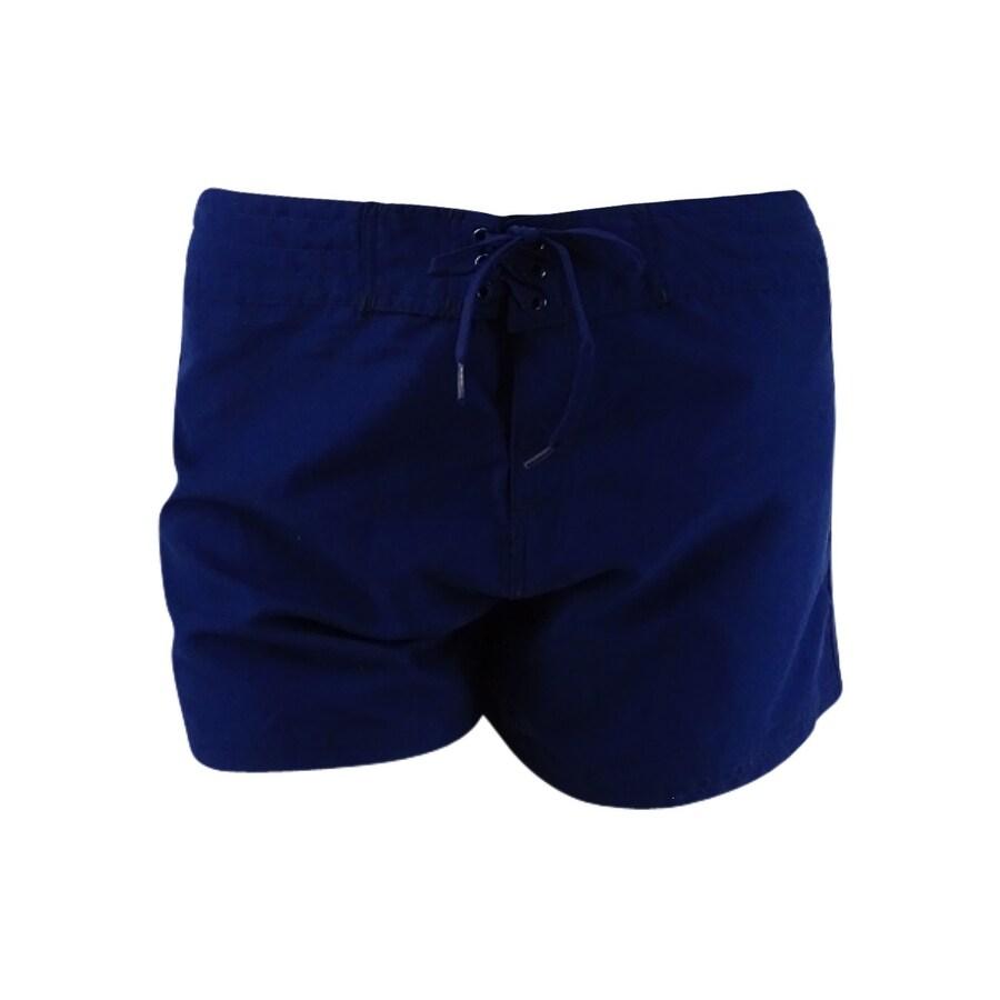 Island Escape Womens Tie-Front Board Shorts - Navy