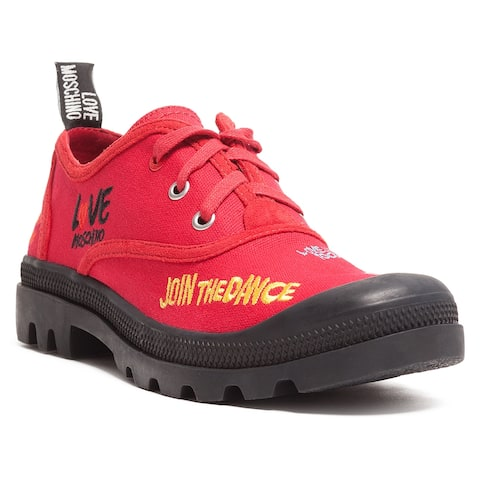 Love Moschino Red Lug Sole Embroidered Sneakers