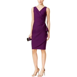 Alex Evenings Womens Petites Cocktail Dress Embellished Ruched