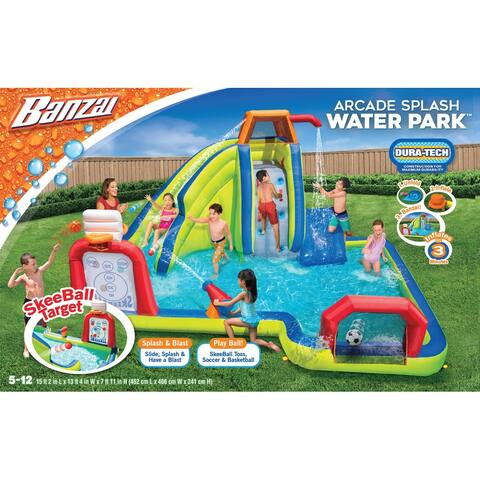 Banzai Inflatable Arcade Splash Water Park - Slide, Splash & Have a Blast! - SkeeBall Toss, Soccer & Basketball