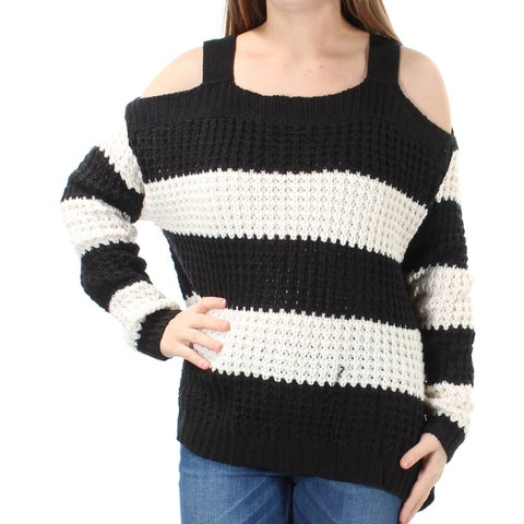 Womens Black Ivory Long Sleeve Square Neck Casual Sweater Size M