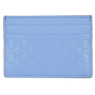"Gucci 476010 Mineral Blue Leather Micro GG Guccissima Small Card Case - 4"" x 2.75"""