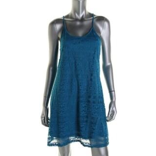 Love Fire Womens Juniors Crochet Sleeveless Mini Dress
