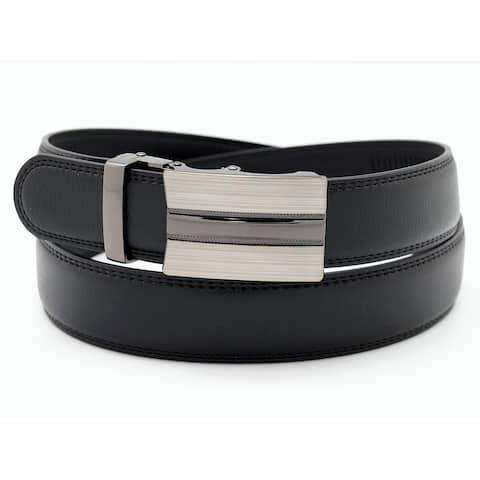 Men's Leather Black Dress Belt Sliding Ratchet Automatic Buckle Holeless XLarge