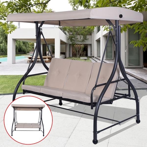 Costway Converting Outdoor Swing Canopy Hammock 3 Seats Patio Deck Furniture beige & Costway Converting Outdoor Swing Canopy Hammock 3 Seats Patio Deck ...