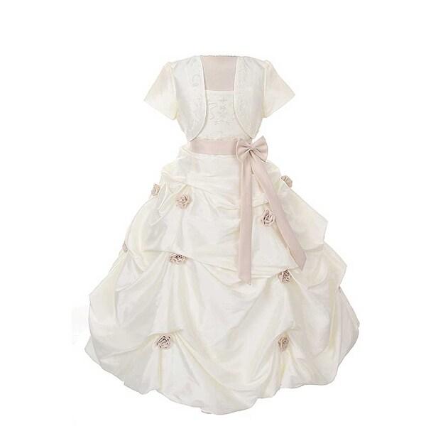 Rain Kids Ivory Khaki Flower Pickup Pageant Flower Girl Dress Girls 2T