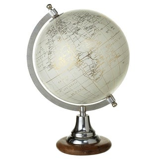"12"" White and Gold Globe Themed Vintage Style with Wood Stand Table Top"