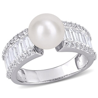 Link to Miadora Sterling Silver FW Cultured Pearl & Created White Sapphire Multi-row Cocktail Ring (8-8.5mm) Similar Items in Rings