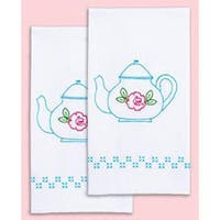 """Teapot - Stamped White Decorative Hand Towel Pair 17""""X28"""""""