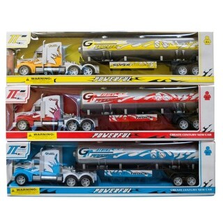 Daily Basic Kids Indoor and Outdoor Play Realistic Friction Powered Oil Tank Truck - Assorted Colors