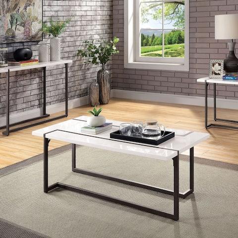 Furniture of America Tawl Contemporary White Lacquer Coffee Table