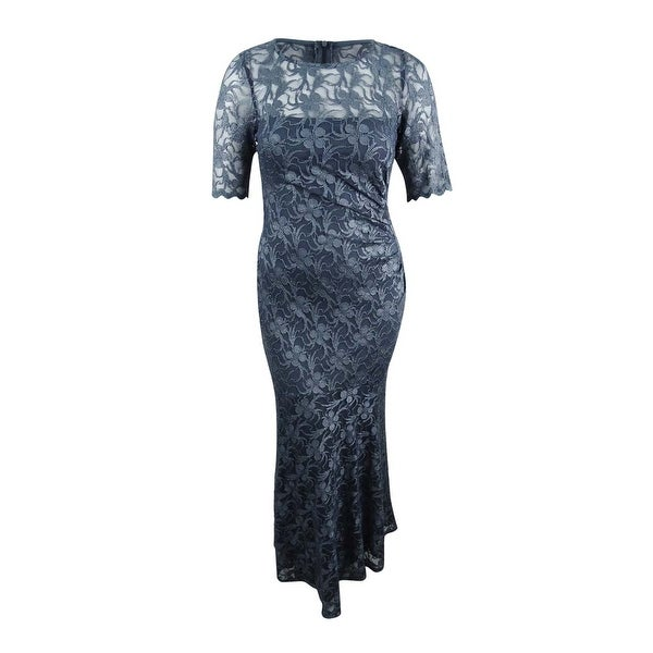 Connected Women's Elbow-Sleeve Metallic Lace Gown - Gunmetal