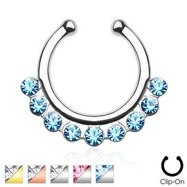 Single Line with Gems Non-Piercing Septum Hanger (Sold Ind.)