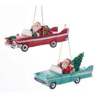 Kurt Adler Santa Driving Retro Car  Holiday Ornaments Set of 2 Mid Century Style