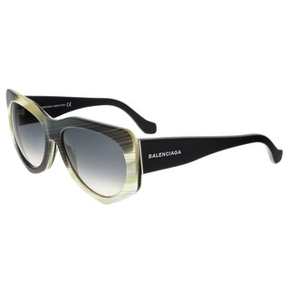 Balenciaga BA0018 64B Black and Yellow Horn Full-Rim Rectangle Sunglasses