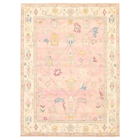 ECARPETGALLERY Hand-knotted Modern Oushak Pink Wool Rug - 9'1 x 12'2