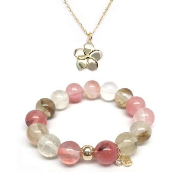 """Pink Cherry Quartz 7"""" Bracelet & Flower Gold Charm Necklace Set"""