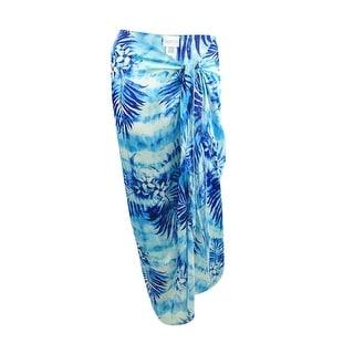 Dotti Women's Cool Caribbean Long Pareo Skirt Swim Cover-Up - Blue/White - O/S