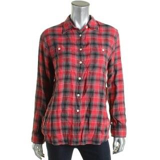 Denim & Supply Ralph Lauren Womens Button-Down Top Flannel Plaid