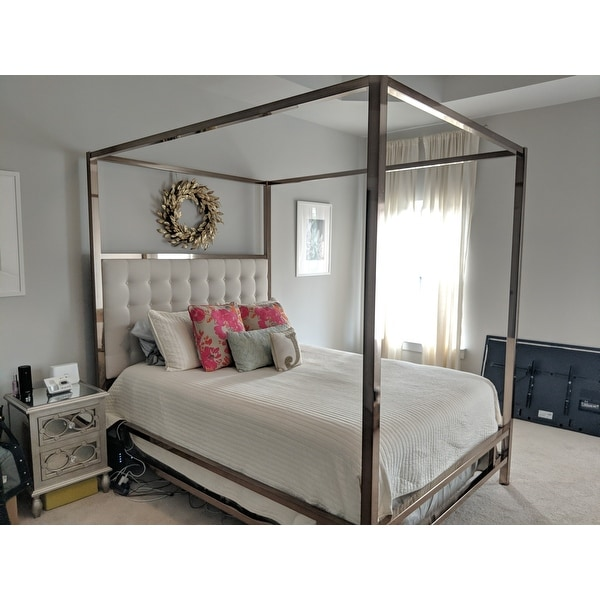 Shop Solivita Ch&agne Gold Queen-size Metal Canopy Bed by iNSPIRE Q Bold - Free Shipping Today - Overstock - 10395752  sc 1 st  Overstock.com & Shop Solivita Champagne Gold Queen-size Metal Canopy Bed by iNSPIRE ...