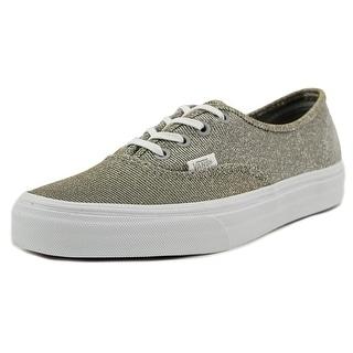 Vans Authentic Women Round Toe Canvas Silver Skate Shoe