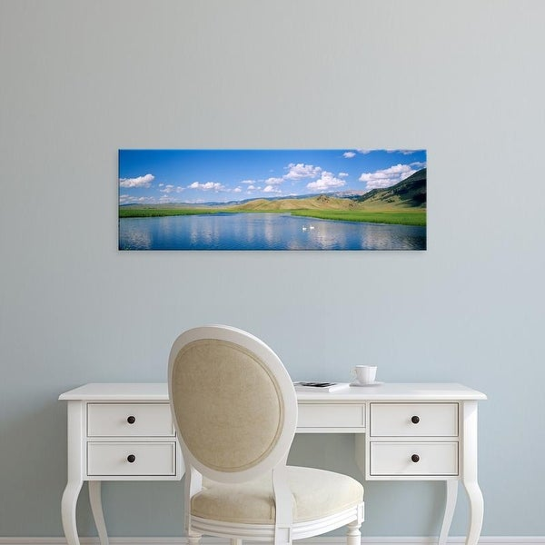 Easy Art Prints Panoramic Images's 'Two swans in a pond, National Elk Refuge, Jackson, Wyoming, USA' Canvas Art