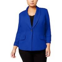 Kasper Womens Plus One-Button Blazer Shawl Collar Office
