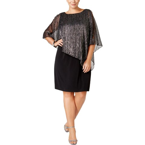 Connected Apparel Womens Plus Cocktail Dress Cape Metallic