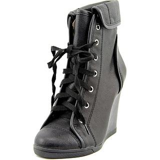 BCBGeneration Veldah Women Round Toe Leather Black Ankle Boot