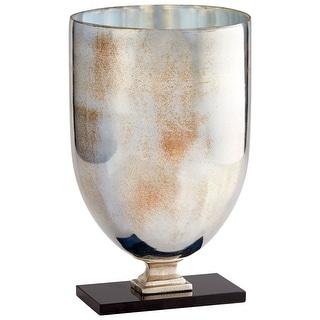 "Cyan Design 09769  Odetta 10-1/2"" Diameter Aluminum, Glass, Marble Vase - Rustic Nickel / Verdi"