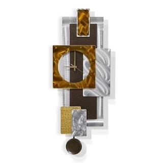Statements2000 Bronze & Silver Metal Wall Clock Art Geometric Decor by Jon Allen - Tectonic Clock