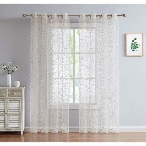 Olivia Embroidered Voile Sheer Grommet Curtain Panels for Any Room